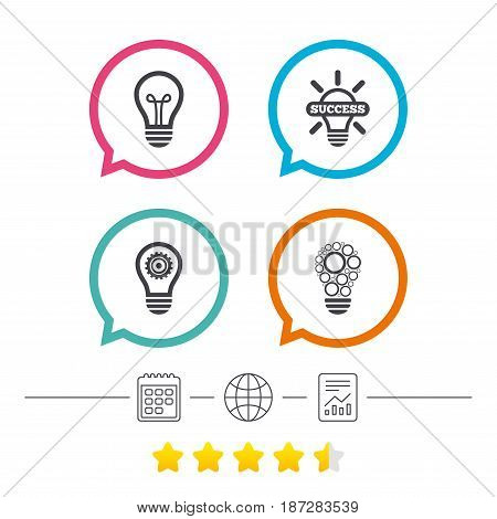 Light lamp icons. Circles lamp bulb symbols. Energy saving with cogwheel gear. Idea and success sign. Calendar, internet globe and report linear icons. Star vote ranking. Vector