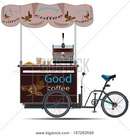 Vector illustration of tricycles coffee bike isolated on white background. Mobile coffee bike business template in flat style.
