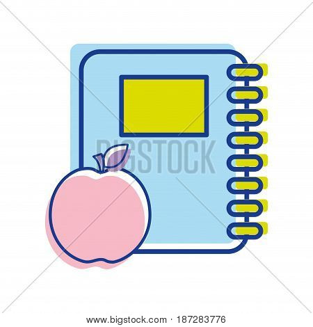 rings notebook tool with apple fruit, vector illustration