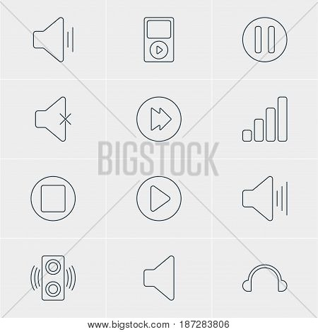 Vector Illustration Of 12 Melody Icons. Editable Pack Of Soundless, Acoustic, Volume Up And Other Elements.