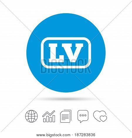 Latvian language sign icon. LV Latvia translation symbol with frame. Copy files, chat speech bubble and chart web icons. Vector