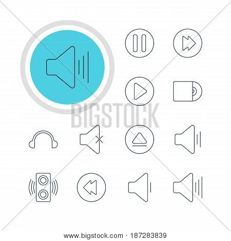Vector Illustration Of 12 Music Icons. Editable Pack Of Start, Soundless, Volume Up And Other Elements.