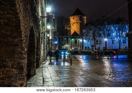 Night view of the street Tallinn Estonia.