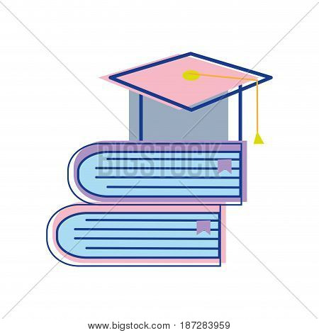 books tools with graduation cap icon, vector illustration