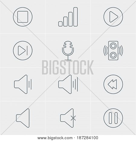 Vector Illustration Of 12 Music Icons. Editable Pack Of Soundless, Mike, Speaker And Other Elements.