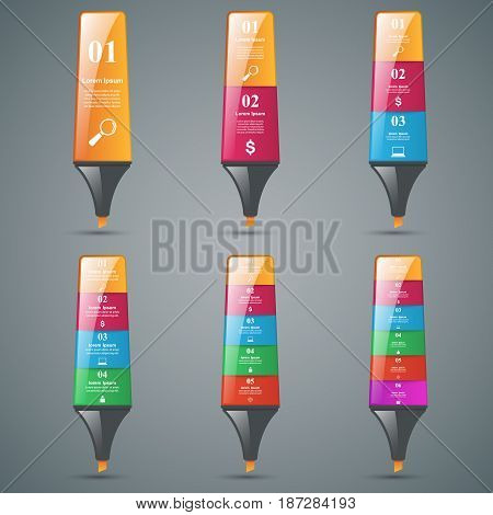 Origami business style color marker 3d infographics