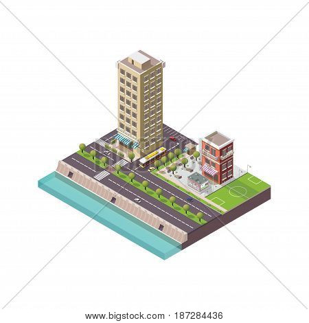 Isometric city, megapolis concept office buildings, parks, cafe, landmarks, skyscraper, street, bridge and river. Vector 3d top view