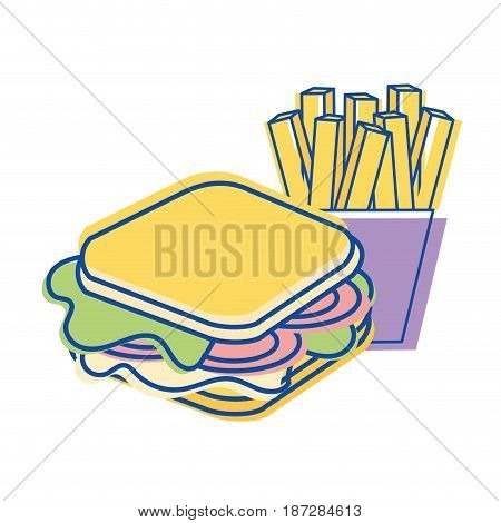 sandwich with fries french icon, vector illustration design