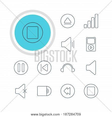 Vector Illustration Of 12 Melody Icons. Editable Pack Of Earphone, Speaker, Acoustic And Other Elements.