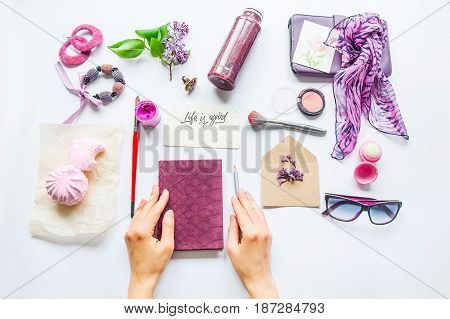 Beauty Blog Concept. Lilac Colour. Female Hands On The Notebook Among Styled Accessories: Sunglasses
