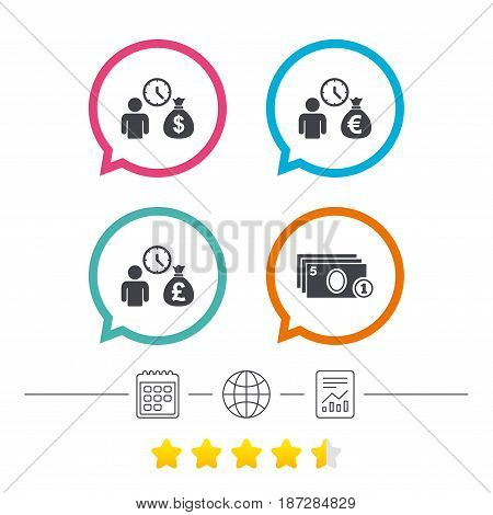 Bank loans icons. Cash money bag symbols. Borrow money sign. Get Dollar money fast. Calendar, internet globe and report linear icons. Star vote ranking. Vector