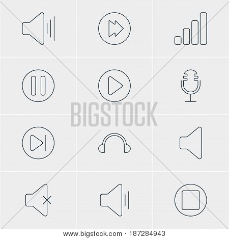 Vector Illustration Of 12 Melody Icons. Editable Pack Of Speaker, Lag, Volume Up And Other Elements.