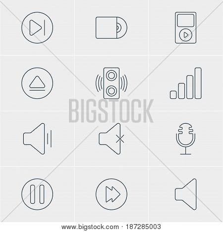 Vector Illustration Of 12 Melody Icons. Editable Pack Of Advanced, Lag, Acoustic And Other Elements.
