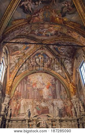 Italy Florence - December 24 2016: the view of the Frescoes in San Lorenzo Church inside Florence Charterhouse church. Certosa di Galluzzo di Firenze on December 24 2016 in Florence Tuscany Italy.