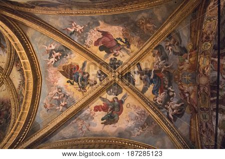 Italy Florence - December 24 2016: the view of the Frescoes on ceiling in San Lorenzo Church inside Florence Charterhouse church. Certosa di Galluzzo di Firenze on December 24 2016 in Florence Tuscany Italy.