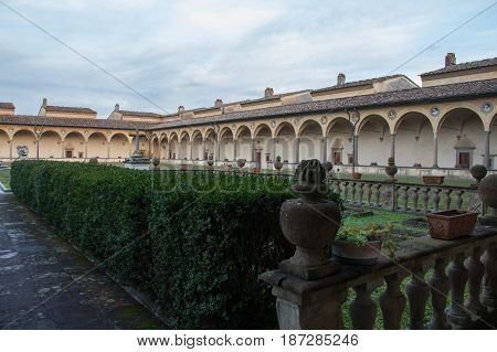 Italy Florence - December 24 2016: the view of the inner courtyard of Florence Charterhouse church Certosa di Galluzzo di Firenze on December 24 2016 in Florence Tuscany Italy.