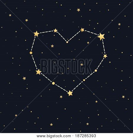 Heart shaped star constellation on night sky. Valentine's day abstract vector illustration. Starry sky background is seamless pattern.