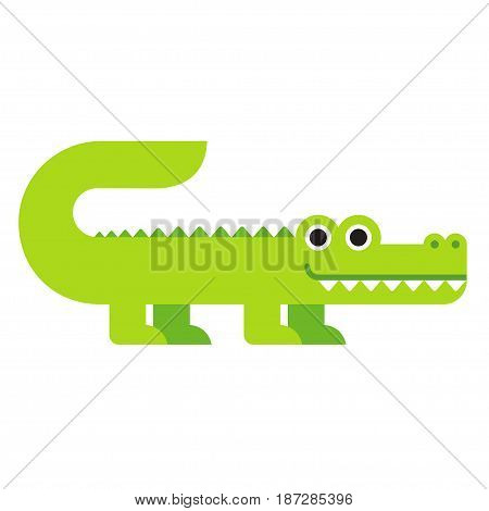 Cute cartoon crocodile in modern geometric flat vector style. Simple and adorable smiling alligator illustration.