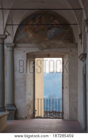 Italy Florence - December 24 2016: detailed view of the fore courtyard of Florence Charterhouse church Certosa di Galluzzo di Firenze on December 24 2016 in Florence Tuscany Italy.