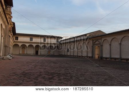 Italy Florence - December 24 2016: the view of the fore courtyard and entrance of Florence Charterhouse church Certosa di Galluzzo di Firenze on December 24 2016 in Florence Tuscany Italy.