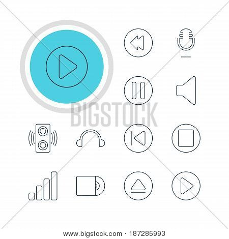 Vector Illustration Of 12 Music Icons. Editable Pack Of Mike, Compact Disk, Rewind And Other Elements.