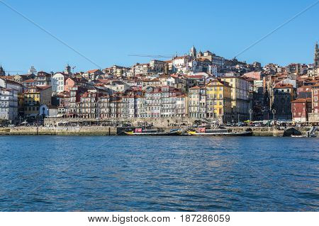 PORTO PORTUGAL - OCTOBER 20 2015: Panorama of the old town of Porto the second largest city in Portugal after Lisbon