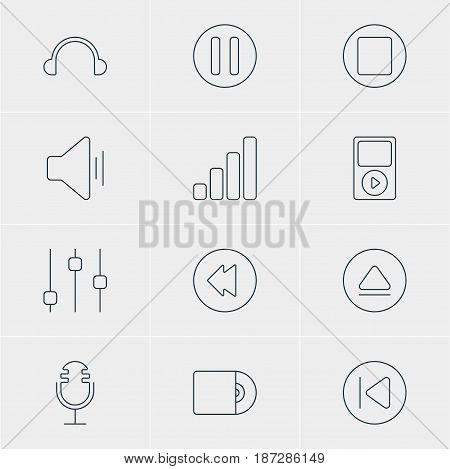 Vector Illustration Of 12 Melody Icons. Editable Pack Of Pause, Preceding, Compact Disk And Other Elements.