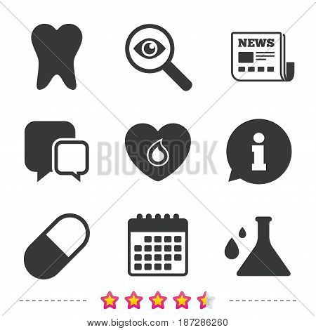Maternity icons. Pill, tooth, chemistry and heart signs. Blood donation symbol. Lab bulb with drops. Dental care. Newspaper, information and calendar icons. Investigate magnifier, chat symbol. Vector