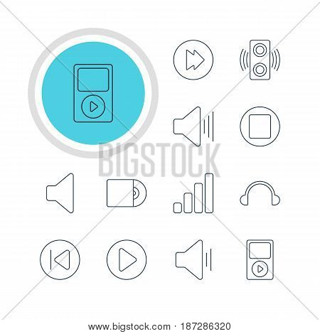 Vector Illustration Of 12 Music Icons. Editable Pack Of Preceding, Start, Volume Up And Other Elements.