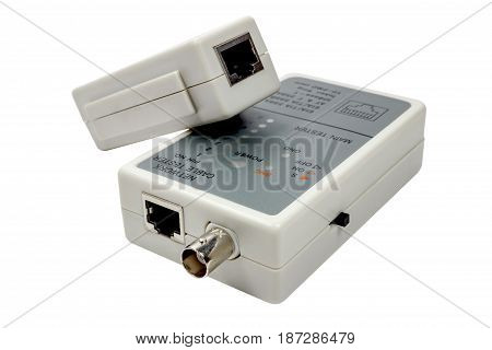 Network Cable Tester With Remote Probe Isolated On A White Background