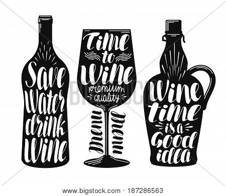 Wine, winery label set. Collection decorative elements for menu restaurant or cafe, bar