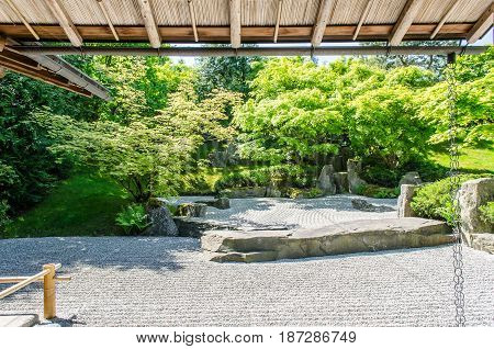 traditional japanese zen garden trees in the background