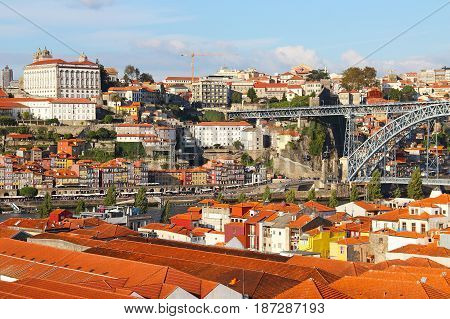 Heart of Porto with Dom Luis Bridge over Douro river, Ribeira district, and Vila Nova de Gaia wine cellars, Portugal