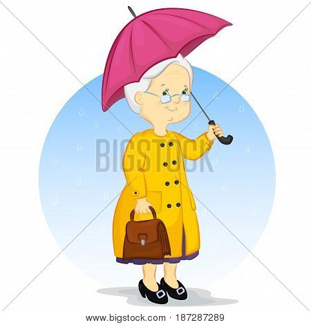 an elderly woman in a raincoat with an umbrella