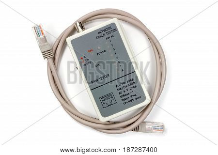 Network Cable Tester With Utp Cable On A White Background