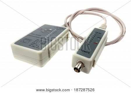 Network Cable Tester And Remote Probe With Utp Cable On A White Background