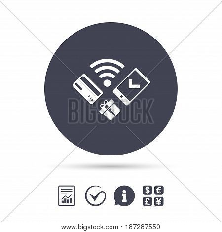 Wireless mobile payments icon. Smartphone, credit card and gift symbol. Report document, information and check tick icons. Currency exchange. Vector