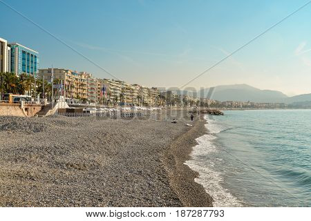 Empty Beach In Nice And Promenade Des Anglais