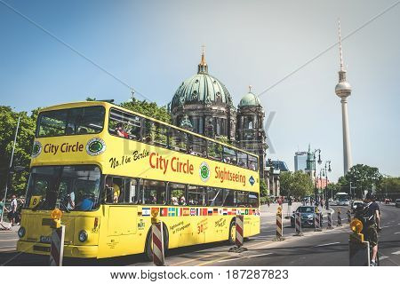 A Sightseeing Bus In Famous Landmarks - The Berlin Cathedral (berliner Dom) And Tv Tower ( Fernsehtu