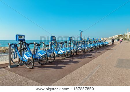 Bicycles Stand In Rental Center