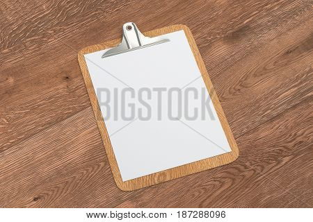 Clipboard With Blank White Paper
