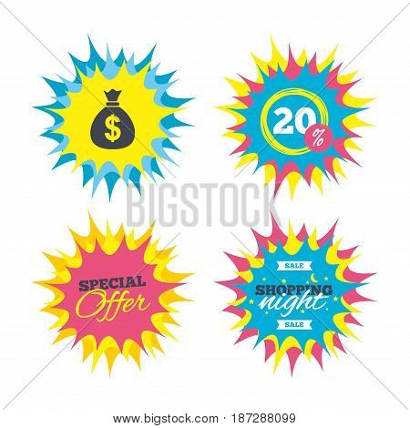 Shopping offers, special offer banners. Money bag sign icon. Dollar USD currency symbol. Discount star label. Vector