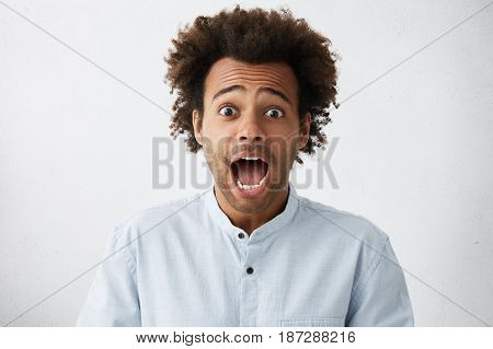 Afraid Young Afro American Male Employee Raising Eyebrows And Screaming With Mouth Wide Opened, Havi