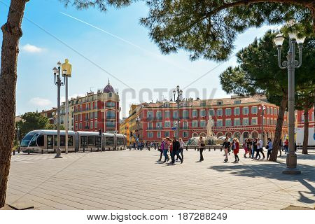 Central Square With Modern High-speed Tram In Nice, France