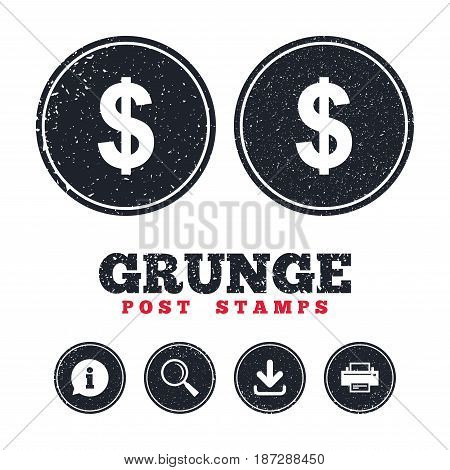 Grunge post stamps. Dollars sign icon. USD currency symbol. Money label. Information, download and printer signs. Aged texture web buttons. Vector