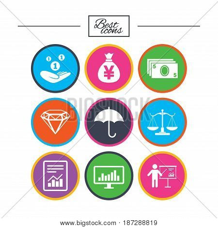 Money, cash and finance icons. Money savings, justice scales and report signs. Presentation, analysis and umbrella symbols. Classic simple flat icons. Vector