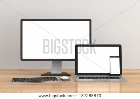 Blank Screen Desktop Monitor, Laptop And Smartphone Isolated