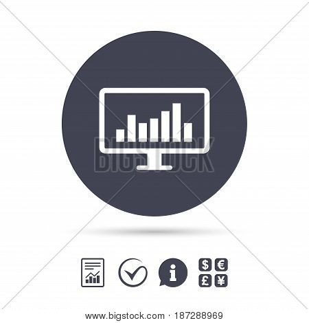 Computer monitor sign icon. Market monitoring. Report document, information and check tick icons. Currency exchange. Vector