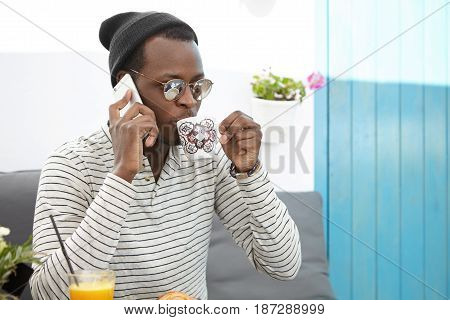 People, Modern Lifestyle, Technology And Communication Concept. Candid Shot Of Attractive Black Euro