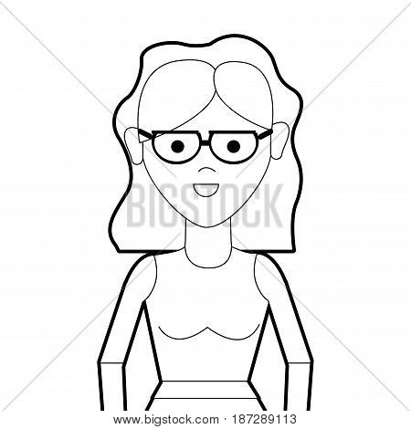 line beautiful woman with glasses and blouse cloth, vector illustration